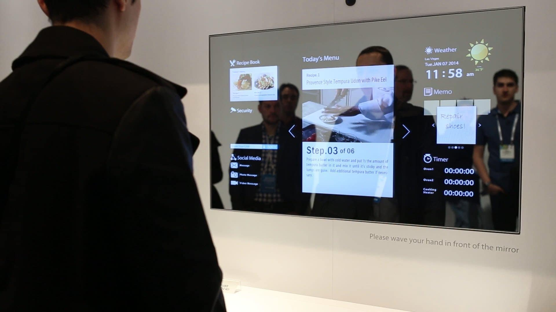 Smart mirror optical grade glass allows touch overlay for Mirror video