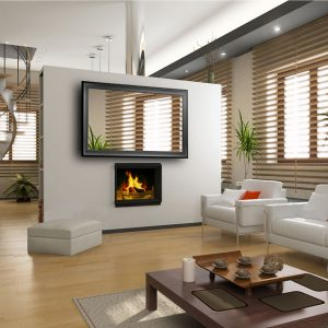 the modern interior design with fireplace (3D)