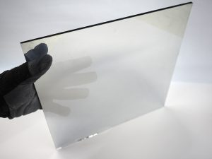 two way mirror film applied to clear glass