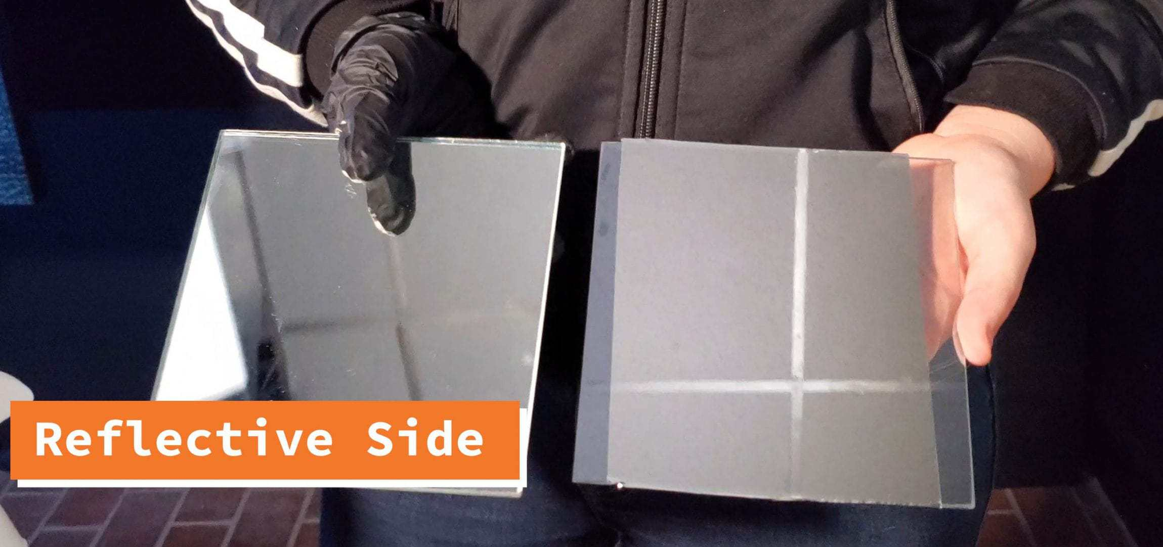 Reflective side of the two way mirror film.