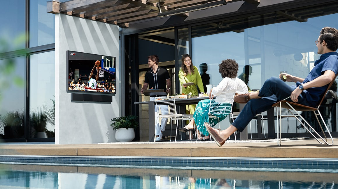 terrace tv by outdoor pool