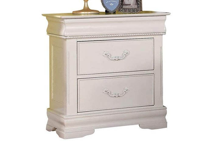 White Hidden Drawer Nightstand