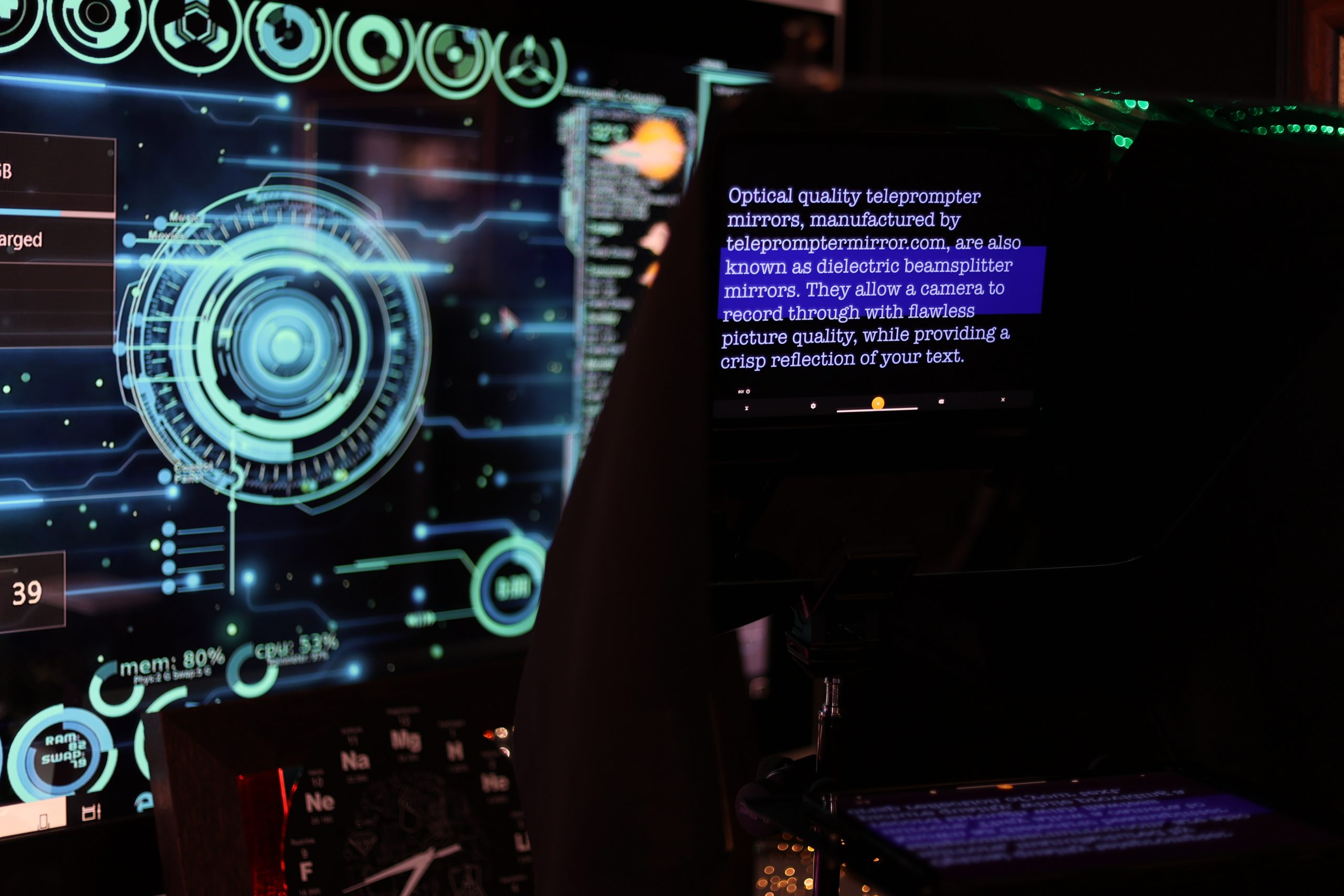 Teleprompter with script