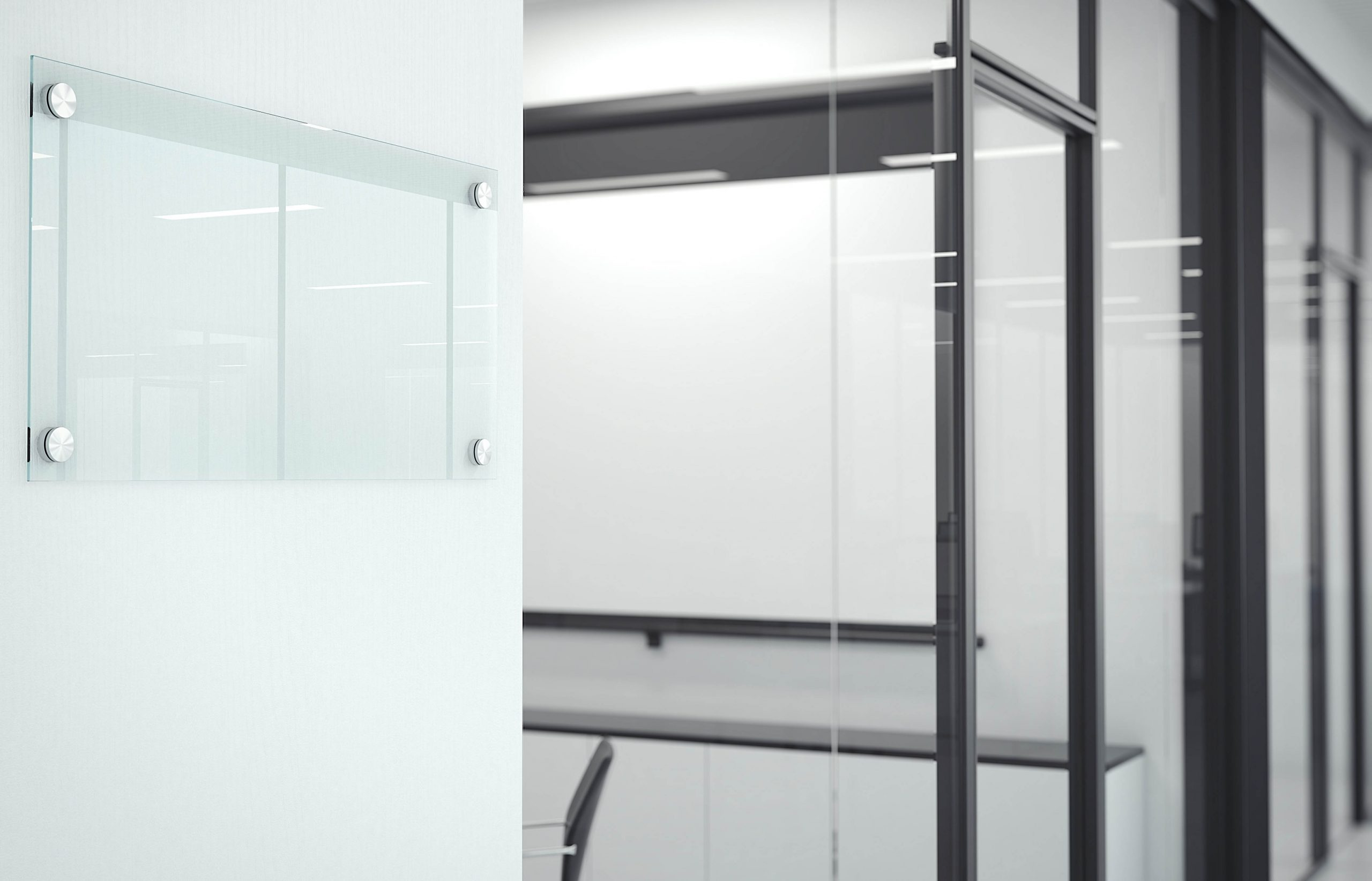 Blank,Transparent,Glass,Plate,In,Office,Interior.,3d,Rendering