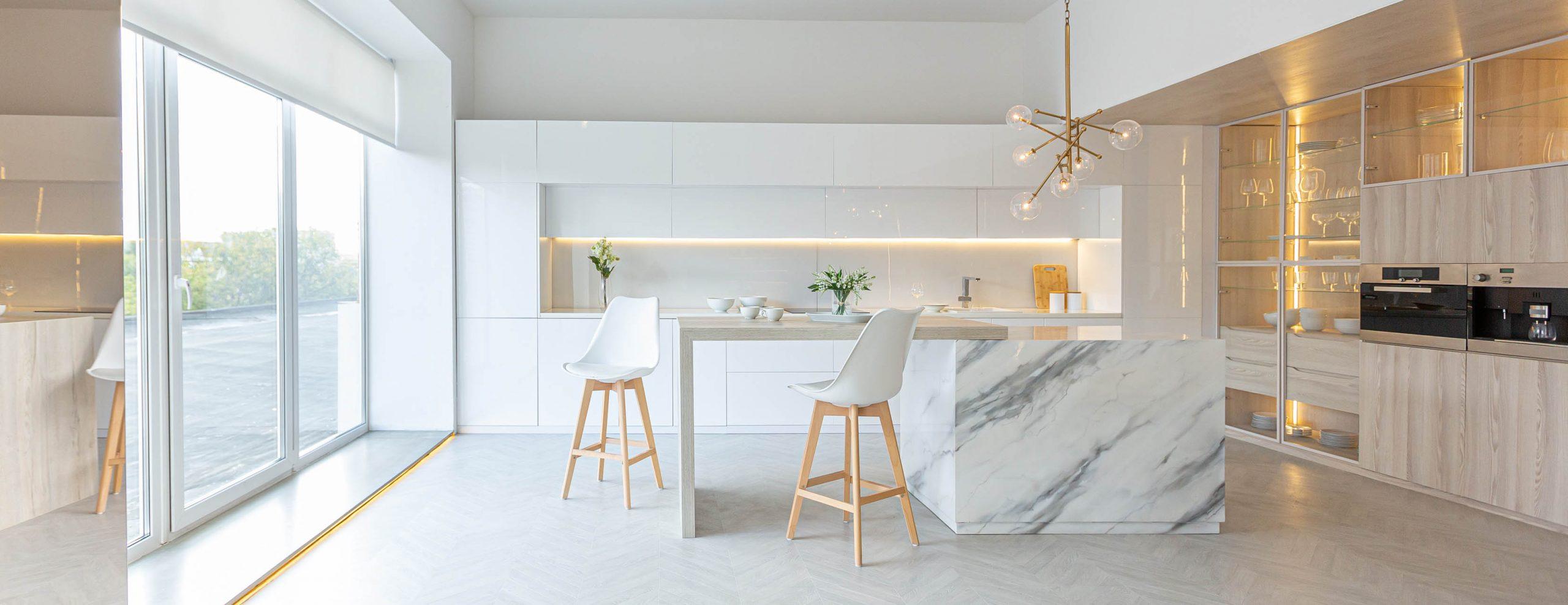 Luxury,Interior,Design,Of,Modern,Trendy,Snow,White,Kitchen,In